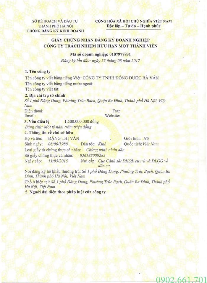 Giấy Phép Kinh Doanh Công Ty Đông Dược Bà Vân Trang 1